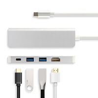 USB-C转HDMI电视Type-c笔记本扩展坞HUB集线器PD转USB雷电3 银色【2个USB+HDMI+PD充电】