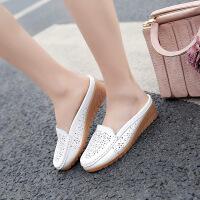 2017夏季新款半拖鞋女镂空透气凉鞋平底休闲韩版豆豆鞋学生女单鞋