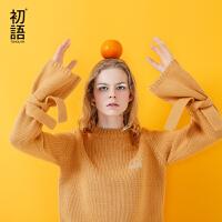初语 2017秋季新款 圆领套头袖子捆绑粗线针织绣花毛衣女