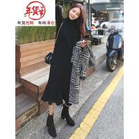 胖mm大码女装秋冬装2018新款胯宽大腿粗的女生遮肚子连衣裙子洋气 黑色