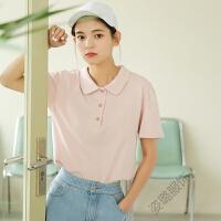 polo衫女可爱短袖t恤2018夏装学院风纯色宽松百搭娃娃领上衣 均码