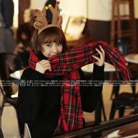 韩国冬季超长彩色格子流苏针织毛线围巾披肩女韩版加厚大围脖冬天 红色