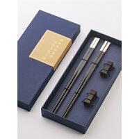 实木质黑檀乌木筷家用中式定制刻字分人红木筷子套装龙凤