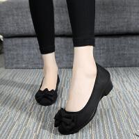 新款老北京布鞋女鞋豆豆单鞋春秋款软底蝴蝶结坡跟妈妈黑色工作鞋