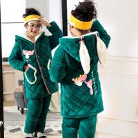 亲子装母女儿童睡衣女冬季三层女童珊瑚绒秋冬季
