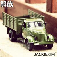 1:36合金汽车模型东风老解放卡车经典怀旧声光回力玩具军事摆设