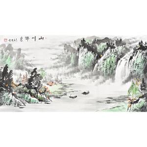 当代画家  周俊青山川锦秀gs01275