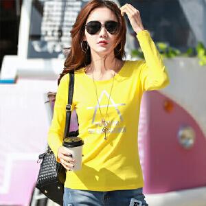 2017春装新款女装上衣纯棉字母长袖T恤女韩版修身打底衫体恤女WK5195