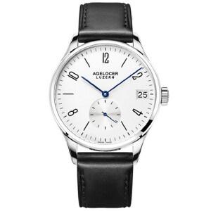 艾戈勒全自动手表男简约皮带机械表真皮防水男表时尚潮流手表