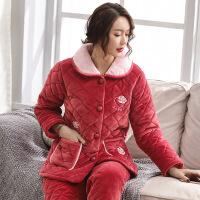 珊瑚绒夹棉睡衣女冬季加厚加绒保暖棉袄法兰绒中年妈妈家居服套装