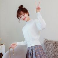 №【2019新款】短款毛衣女秋冬新款韩版百搭修身打底衫很仙的半高领针织衫女