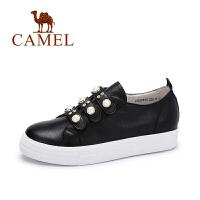 camel 骆驼女鞋 新款真皮休闲魔术贴厚底鞋 舒适百搭珠饰板鞋
