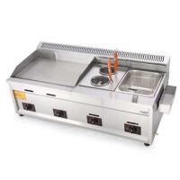 燃气扒炉 手抓饼机器 铁板鱿鱼设备麻辣烫油炸锅关东煮一体机