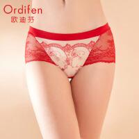 欧迪芬商场同款 女士中腰平角裤无痕底裤蕾丝轻透性感内裤OP9512