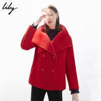 【不打烊价:719.7元】 Lily春新款女装红色大翻领双排扣直筒毛呢短外套118400F3601