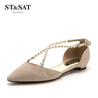 【满99减30】星期六(ST&SAT)夏季专柜同款绒面羊皮革方跟尖头时尚单鞋SS82114410