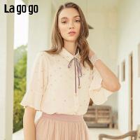 【开学季单件五折叠300-30优惠券】Lagogo/拉谷谷预售2019夏季新款时尚洋气雪纺衬衫女IACC203G12