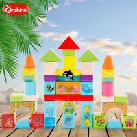 onshine 38粒海洋动物儿童益智智力木制积木玩具桶装2-7周岁宝宝 周岁生日圣诞节新年六一儿童节礼物