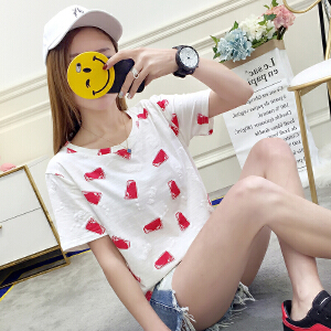 新款上衣宽松短袖t恤衣服韩版时尚学生半袖夏韩范