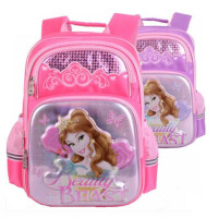 迪士尼书包 0407女生双肩包 女童卡通可爱公主背包 多层夜光背包