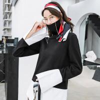 七格格高领毛衣女2018新款韩版套头上衣秋冬装衬衫拼接长袖针织衫
