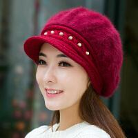 冬季毛线帽女保暖贝雷帽中老年帽加绒妈妈帽子
