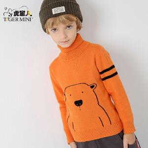 小虎宝儿童装男童高领套头毛衣加绒加厚儿童针织衫 2017冬季新款