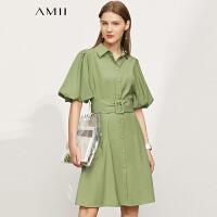 Amii极简翻领泡泡灯笼袖配腰带连衣裙2021夏季新款中袖衬衫裙子