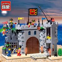 六一礼品启蒙积木小颗粒拼装模型6岁-12岁儿童益智玩具海盗系列劫兵营310