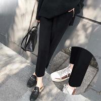茉蒂菲莉 毛呢裤 女式新款秋冬季修身毛呢加厚哈伦裤女士高腰直筒侧开叉外穿韩版学生休闲裤