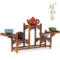 鸡翅木雕博古架紫砂壶五层式古玩底座 红木家具奇石底座茶壶架