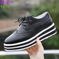 厚底松糕鞋布洛克增高女鞋复古真皮休闲鞋女英伦平底黑色单鞋