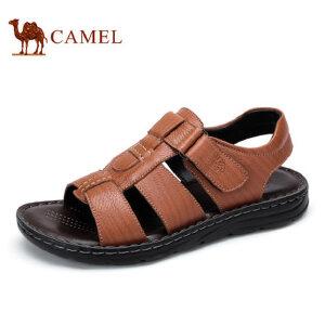 camel骆驼男鞋 夏季真皮魔术贴日常休闲鞋凉鞋男士鞋