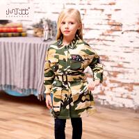 女童外套 童装2017秋季新款修身休闲英伦风上衣潮 儿童中长款风衣