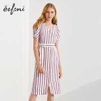 伊芙丽夏新款裙子中长款一步裙短袖简洁撞色条纹连衣裙女