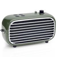 洛斐 毒奏蓝牙音箱迷你低音炮 便携户外复古收音机 手机无线家用小音响 军绿色