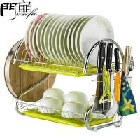 门扉 厨房置物架 整理收纳双层厨房置物架落地沥水碗碟架不锈钢放洗碗碗架碗盘用品 收纳架