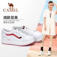 骆驼女鞋2018春季新品休闲舒适厚底小白鞋