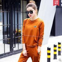 运动服大码女士跑步韩版运动套装时尚纯色宽松卫衣两件套休闲