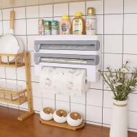 厨房置物架 厨房保鲜膜置物架塑料纸巾架子桌面带铝箔裁剪收纳架