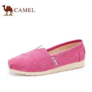 骆驼牌 女鞋 新款时尚帆布鞋女休闲单鞋平跟套脚鞋玛丽鞋