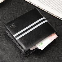 新款男士钱包短款欧美风范横款多卡位 男款钱夹商务休闲钱包潮包 黑色