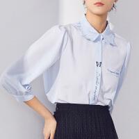 LILY2021夏新款女装设计感立体蝴蝶领定位印花七分袖泡泡袖衬衫401