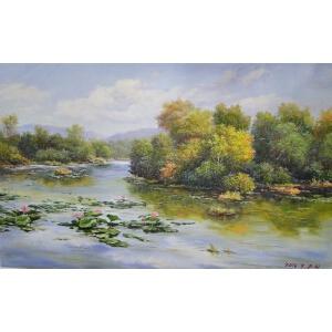 朝鲜油画 一级画家 朱赫《秋日池莲》【大千艺术品】
