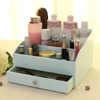 欧式收纳肤品收纳公主范欧式木质化妆品收纳盒大号 韩国木制护肤品收纳盒化妆盒抽屉式