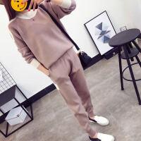 毛衣两件套女时尚套装2017新款潮秋冬季韩版女装针织秋款套头秋装 灰棕色 均码