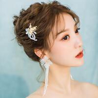 森系仙美金色蝴蝶边夹发饰结婚套装婚纱礼服饰品