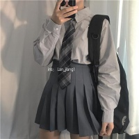【含领带】初秋女学生polo烟灰宽松长袖衬衫+时尚显瘦百褶裙套装