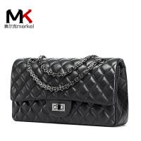 【送手包】莫尔克品牌真皮女包羊皮小香风包包2017新款时尚单肩斜挎包菱格链条包手提包