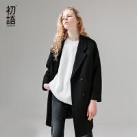 初语秋季新款H型宽松羊毛呢子大衣中长款西装领纯色毛呢外套女